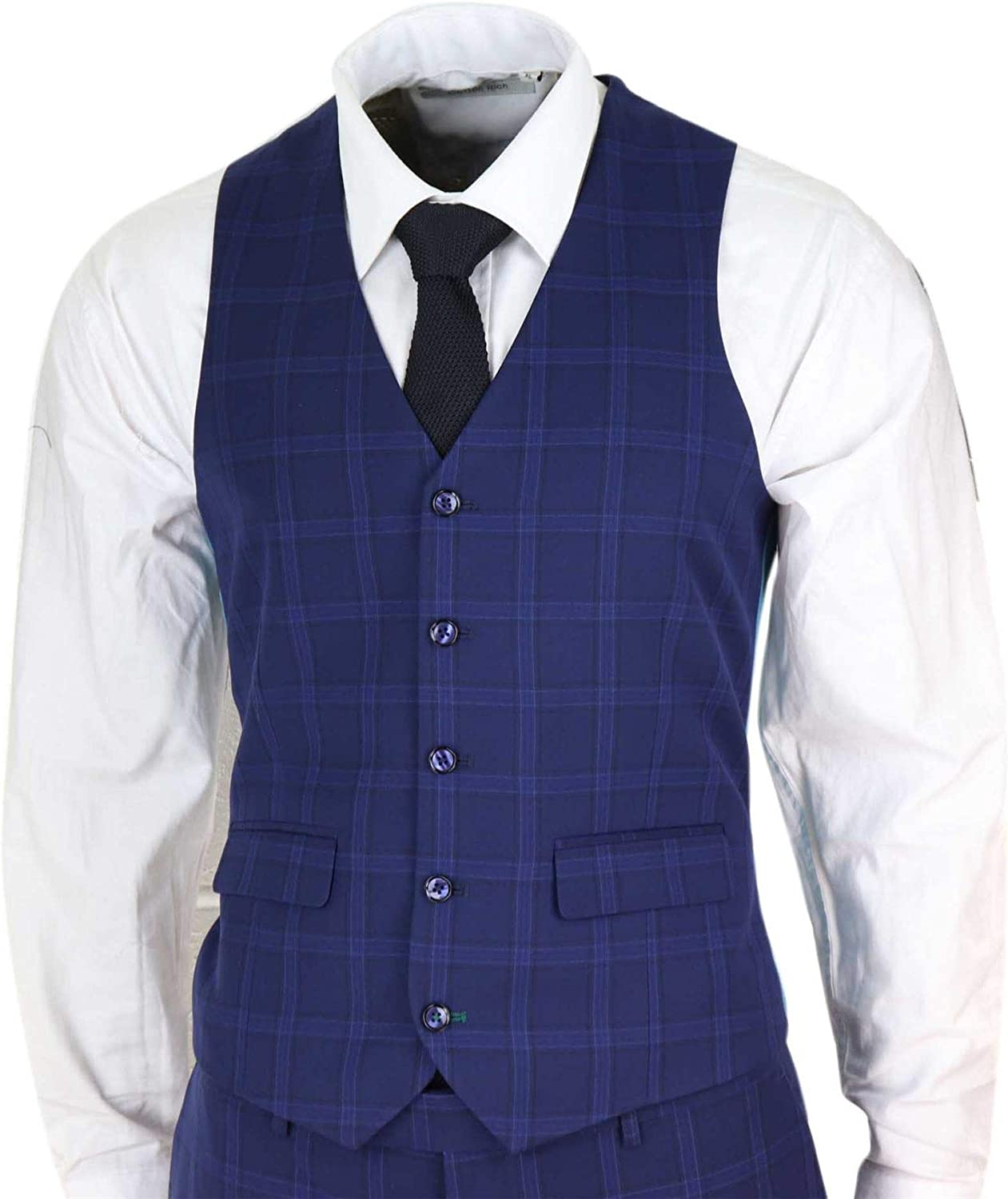Mens 3 Piece Suit Navy Blue Prince of Wales Check Slim Fit Classic Vintage Formal