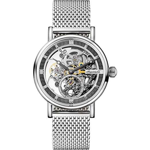 Reloj Automático Ingersoll Herald Skeleton, 40 mm, Gris, Malla milanesa, I00405: Amazon.es: Relojes