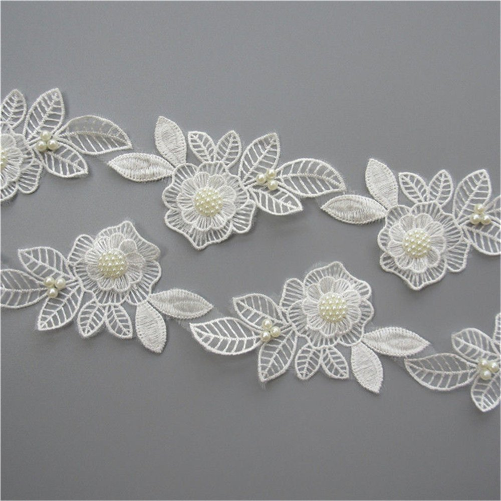 2 Meters 2 Layers Pearl Beaded Tulle Flower Lace Edge Trim Ribbon 6.2 cm Width Vintage Style White Edging Trimmings Fabric Embroidered Applique Sewing Craft Wedding Dress DIY Clothes Embellishment Qiuda