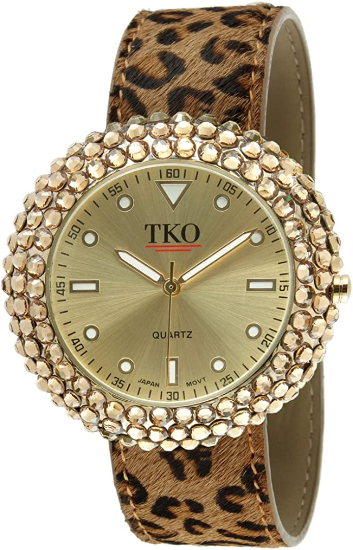 TKO Women s Crystal Slap Watch with Crystal Studded Case Colorful Leather Wrist Strap