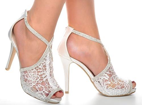 40a0a619c7b5a Off White Lace Diamante Platform Wedding Sandals Heels T-Bar Peeptoe Shoes   Amazon.co.uk  Shoes   Bags