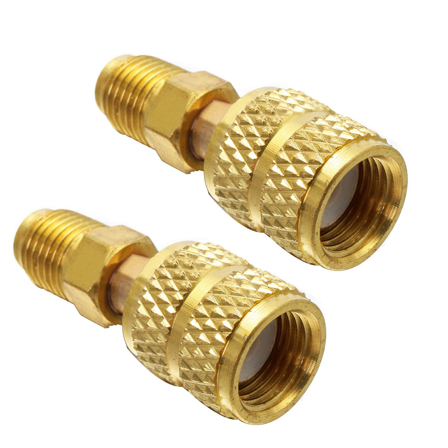 Air Conditioners 3PCS R410a Adapter Charging Vacuum Port Adapter Brass Converter with Thimble 5//16 Inch SAE Female Quick Couplers to 1//4 Inch SAE Male Flare for Mini Split System HVAC and Refriger