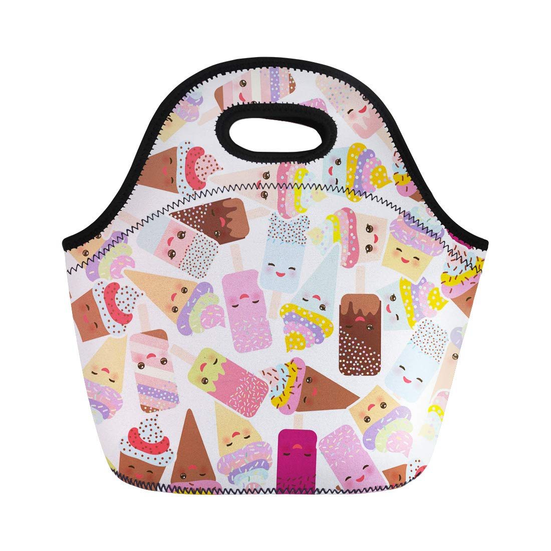 Semtomn Neoprene Lunch Tote Bag Cupcakes Cream Ice in Waffle Cones Lolly Kawaii Pink Reusable Cooler Bags Insulated Thermal Picnic Handbag for Travel,School,Outdoors,Work by Semtomn