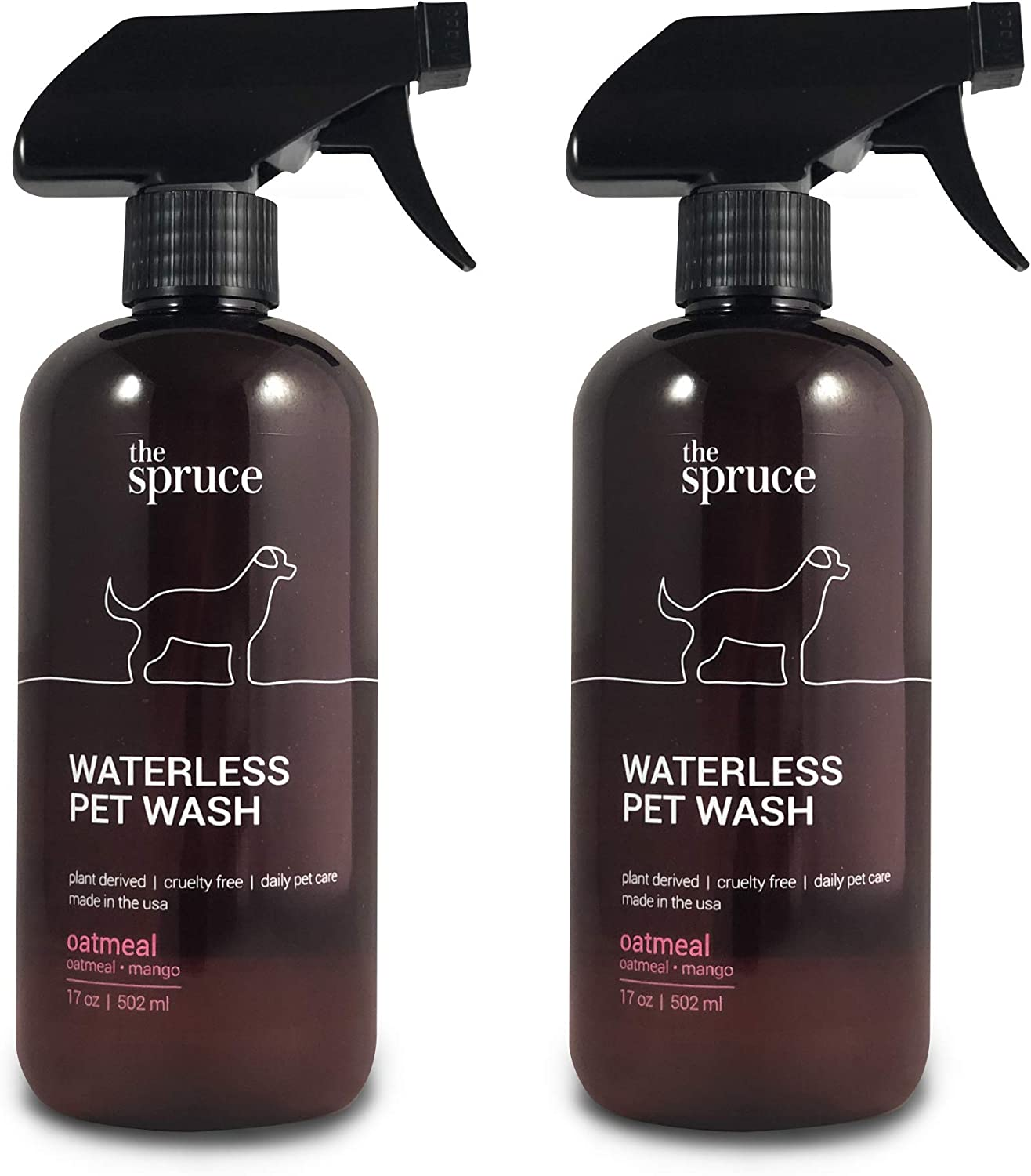 The Spruce Waterless Pet Wash, No Rinse Moisturizing Shampoo for Pets - Daily Pet Care - Cleaning, Cleansing, and Conditioning for Dogs, Puppies, and Cats - 17 oz