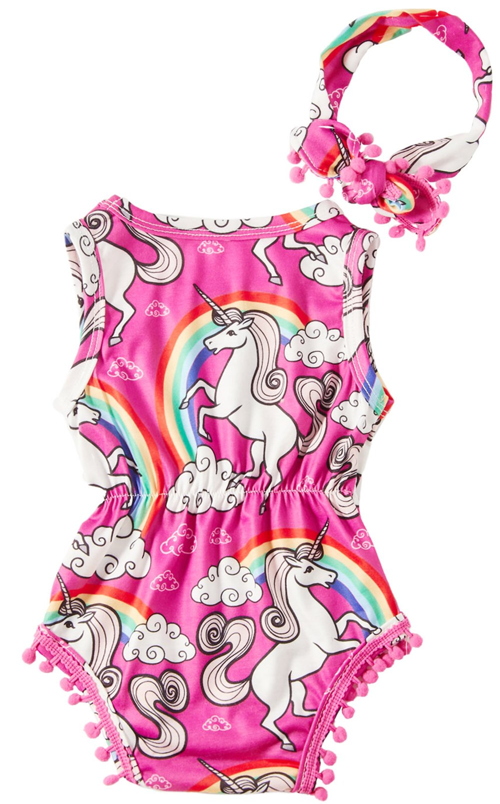 Leapparel 6-12 Months (Size 90) Baby Girls Printed Rainbow UnicornRose red Outfit First Birthday Rompers with Headband Long Sleeve Children Clothes ,Unicorn,3-6Months (Size 80)