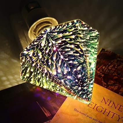 SZYOUMY Filament Fireworks Light Bulb 3D Colorful RGB Decoration LED Bulb 4W Edison Bulb Shape Like