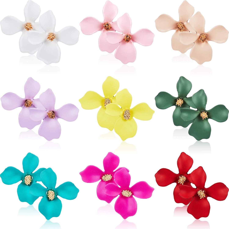 9 Pairs Flower Stud Earrings Set Bohemian Flower Earrings with Faux Flower Bud for Women Girls, 9 Colors