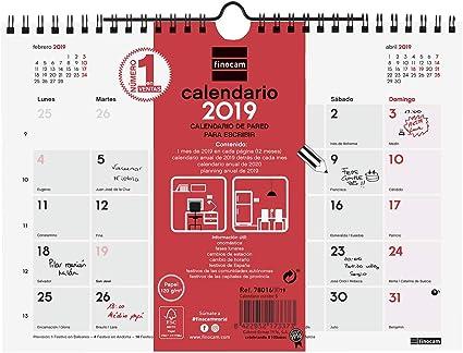 Finocam 780160019 - Calendario de pared 2019: Amazon.es: Oficina y ...