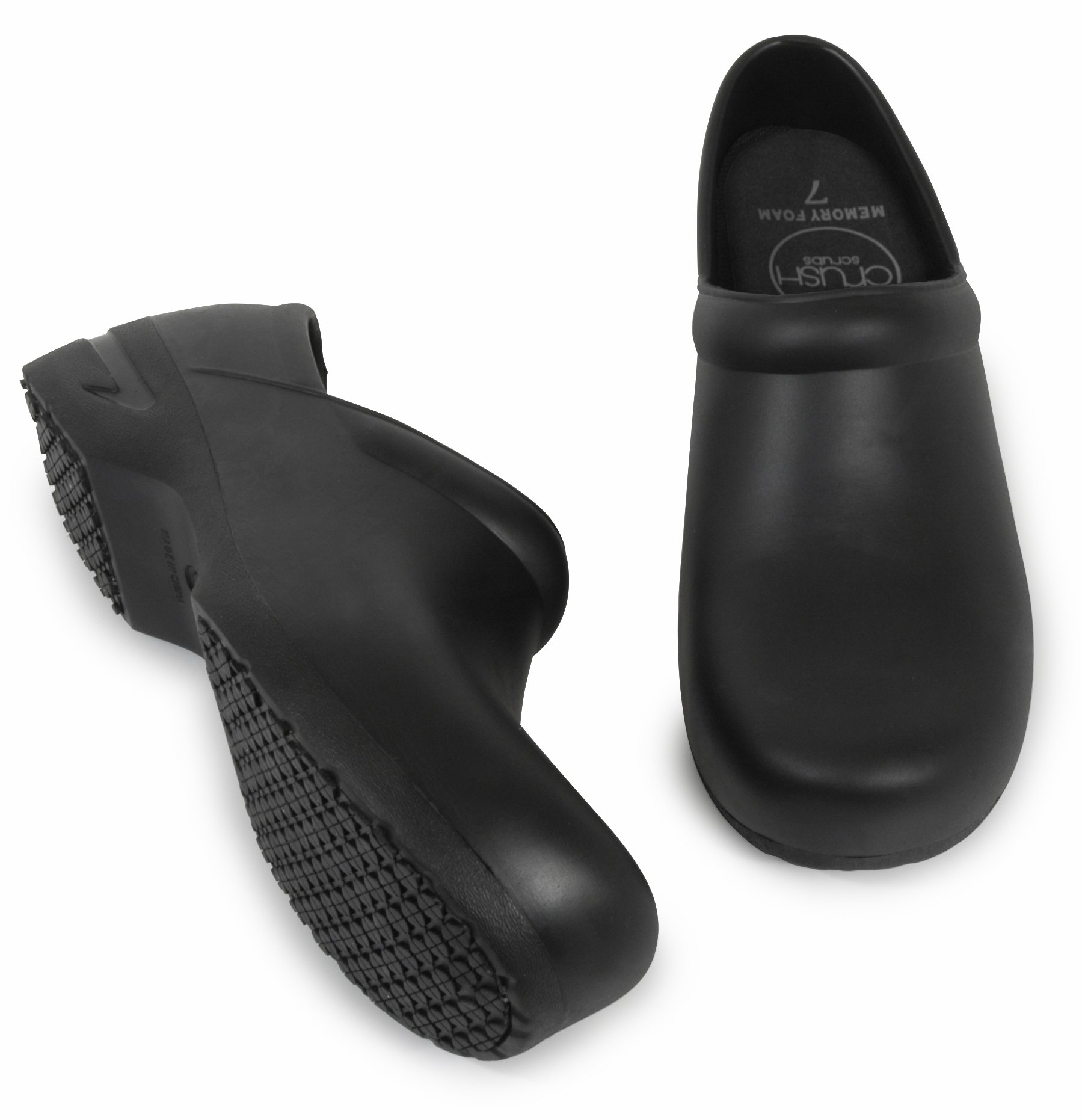 Woman's Clog Shoe with Memory Foam in Sole, and Anti Slip Grip Sole Technology, Water and Stain Resistant. (8, Black)