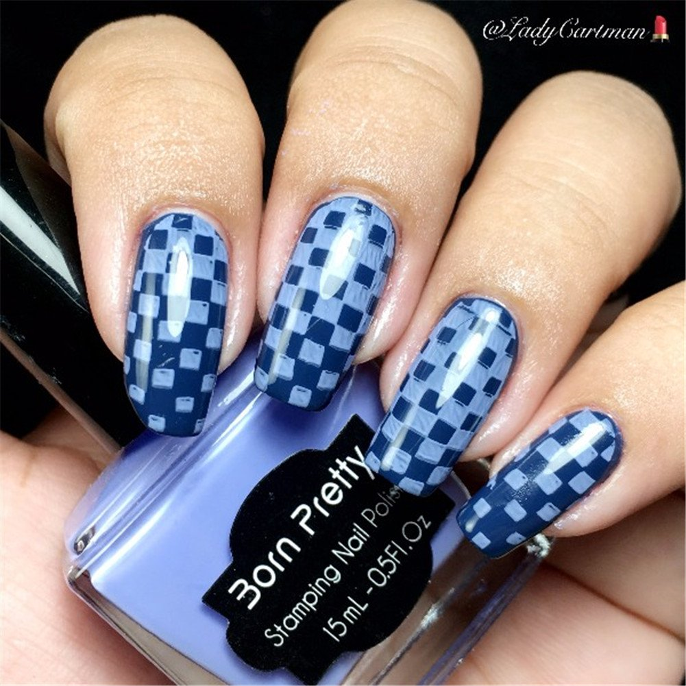 Born Pretty Rectangle Nail Art Stamp Template Checked Design Nagel ...