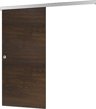 Madera de puerta corredera wengué Juego completo con puerta corredera de Herraje 880 x 2035 mm puerta de madera & Carril Sistema de puerta corredera: Amazon.es: Hogar