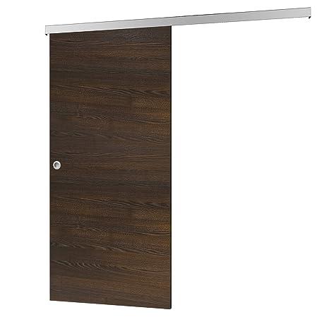 Madera de puerta corredera wengué Juego completo con puerta corredera de Herraje 880 x 2035 mm