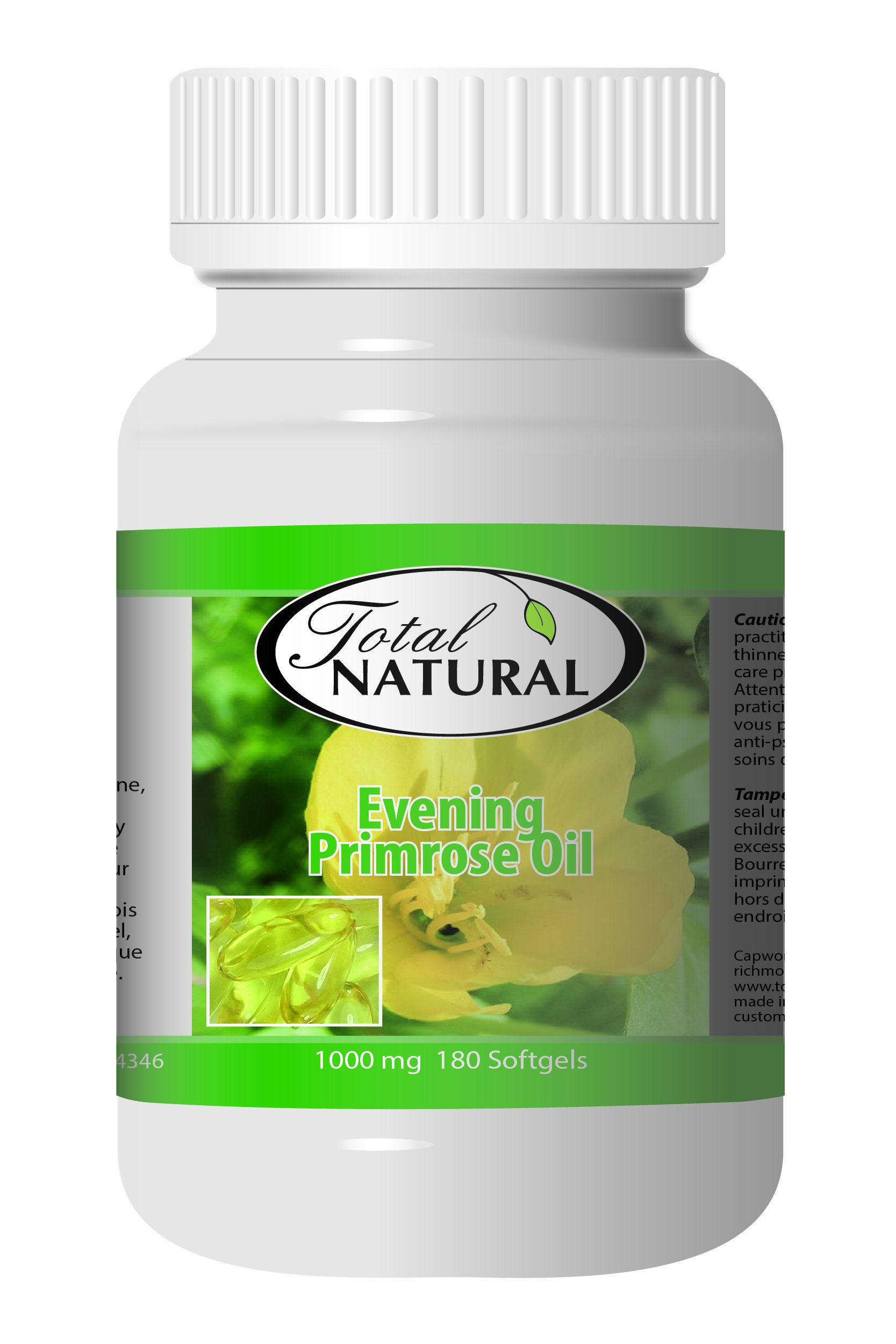 Evening Primrose Oil 1000mg 150 Softgels [5 Bottles] by Total Natural, Improve Metabolism, PMS Support and Fertility, Support Heart Health and Skin Health