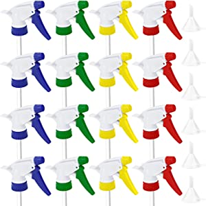 HOVEOX 12 Pieces Colorful Trigger Spray Tops Spray Bottle Top Replacement Trigger Sprayer Stream and 6 Pieces Clear Funnels for Cleaning Home Office Garden Fit 28/400 Neck Bottles
