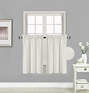 "Elegant Home 2 Panels Tiers Small Window Treatment Curtain Insulated Blackout Drape Short Panel 30""W X 36""L Each for Kitchen Bathroom or ANY Small Window # R5 (Ivory)"