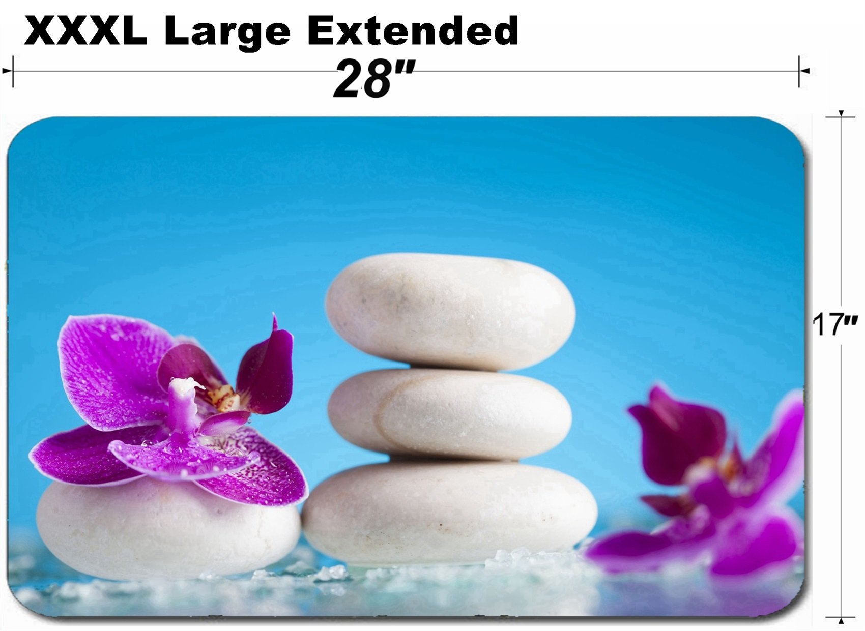 MSD Large Table Mat Non-Slip Natural Rubber Desk Pads Image ID 35620197 Spa Still Life with Pink Orchid and White Zen Stone in a Serenity Poo by MSD (Image #1)