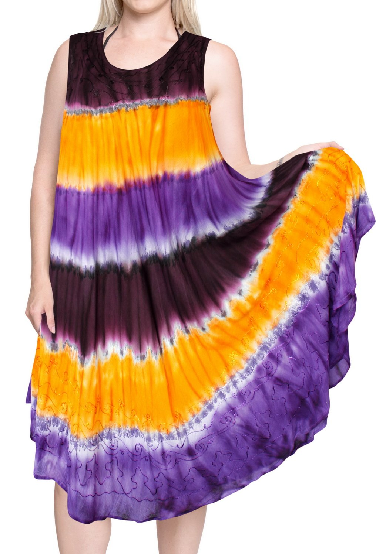 LA LEELA Rayon Tie Dye Tie Dye Maxi Tube Halter Dresses Top Brown 3316 Plus Size