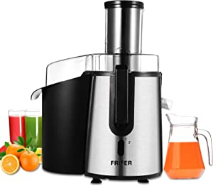 """Juicer Frifer Juice Extractor Wide 3"""" Feed Chute Juicer Machine for Whole Fruit Vegetable Centrifugal Juicing Machine with Anti-drip Non-slip feet Stainless Steel BPA-Free"""