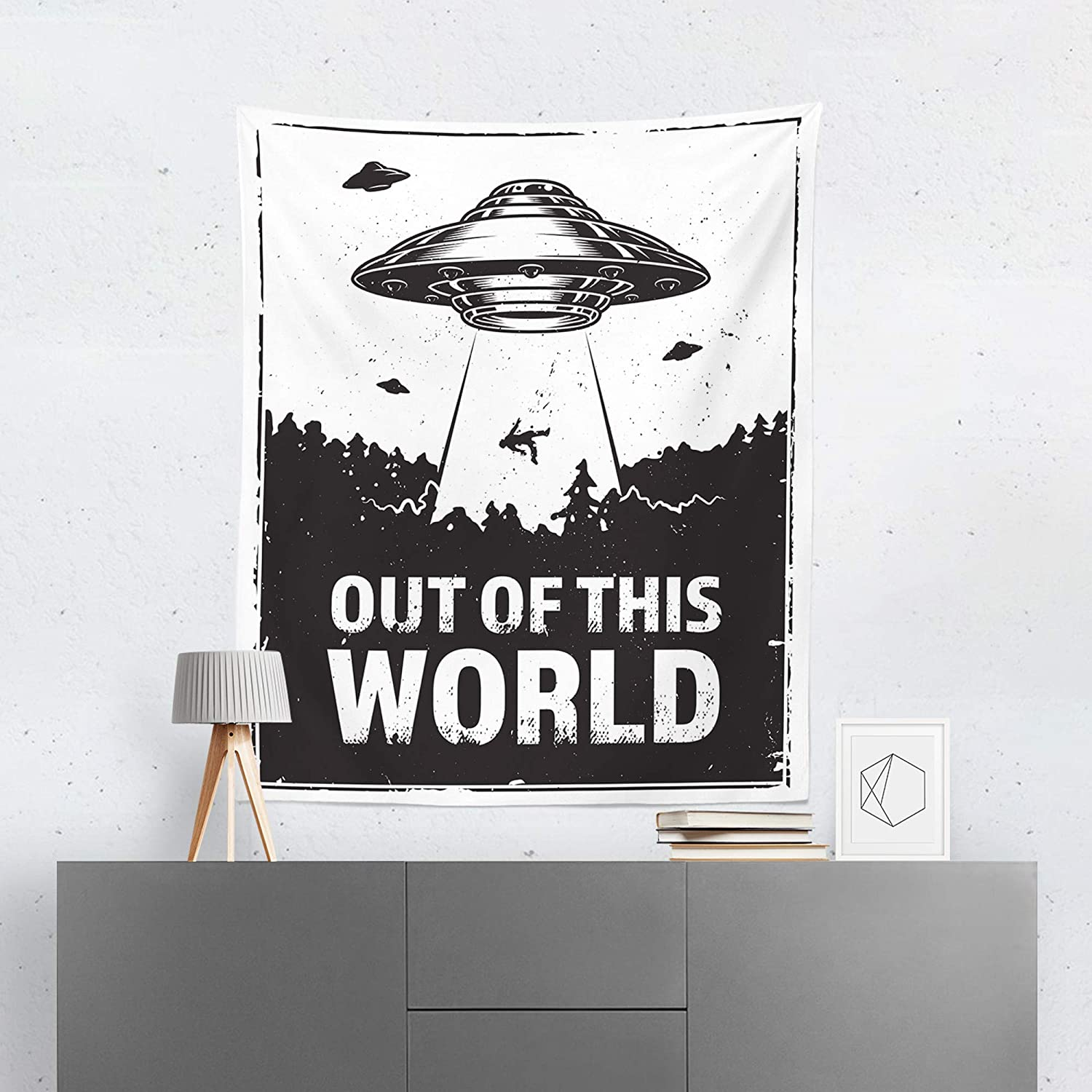 Alien Tapestry Wall Hanging Ufo Aliens Space Outer Space Tapestries Decor College Dorm Living Room Art Gift Bedroom Dormitory Bedspread Small Medium Large Printed In The Usa Tapestries Handmade Products Botani Com Au