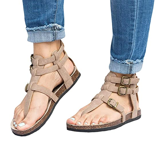 19b80e18679a Amazon.com  Ruanyu Womens Thong Gladiator Sandals Ankle Strappy ...