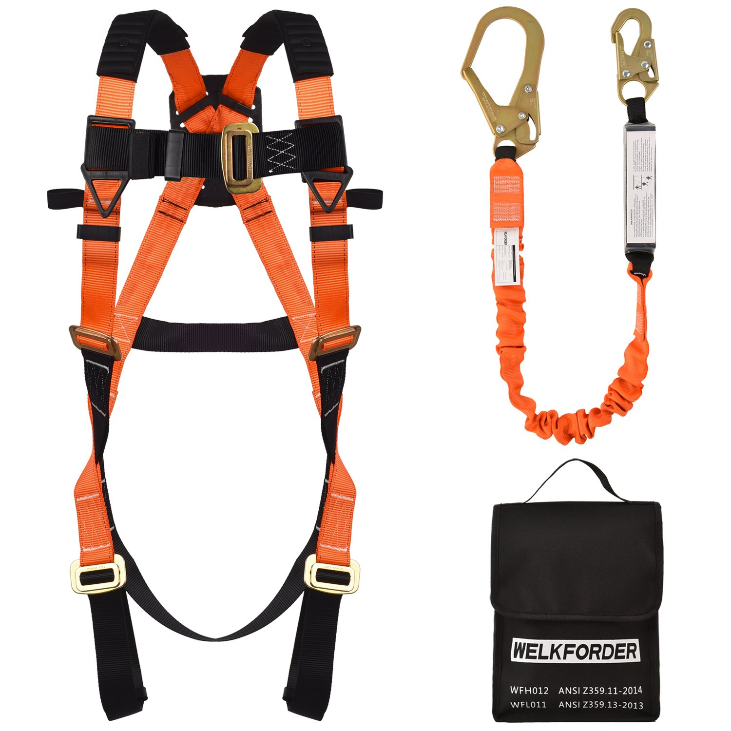 WELKFORDER 1 D-Ring Industrial Fall Protection Safety Harness Kit With Single Leg 6-Foot Shock Absorber Stretch Lanyard ANSI Complaint Personal Fall Arrest System(PFAS)