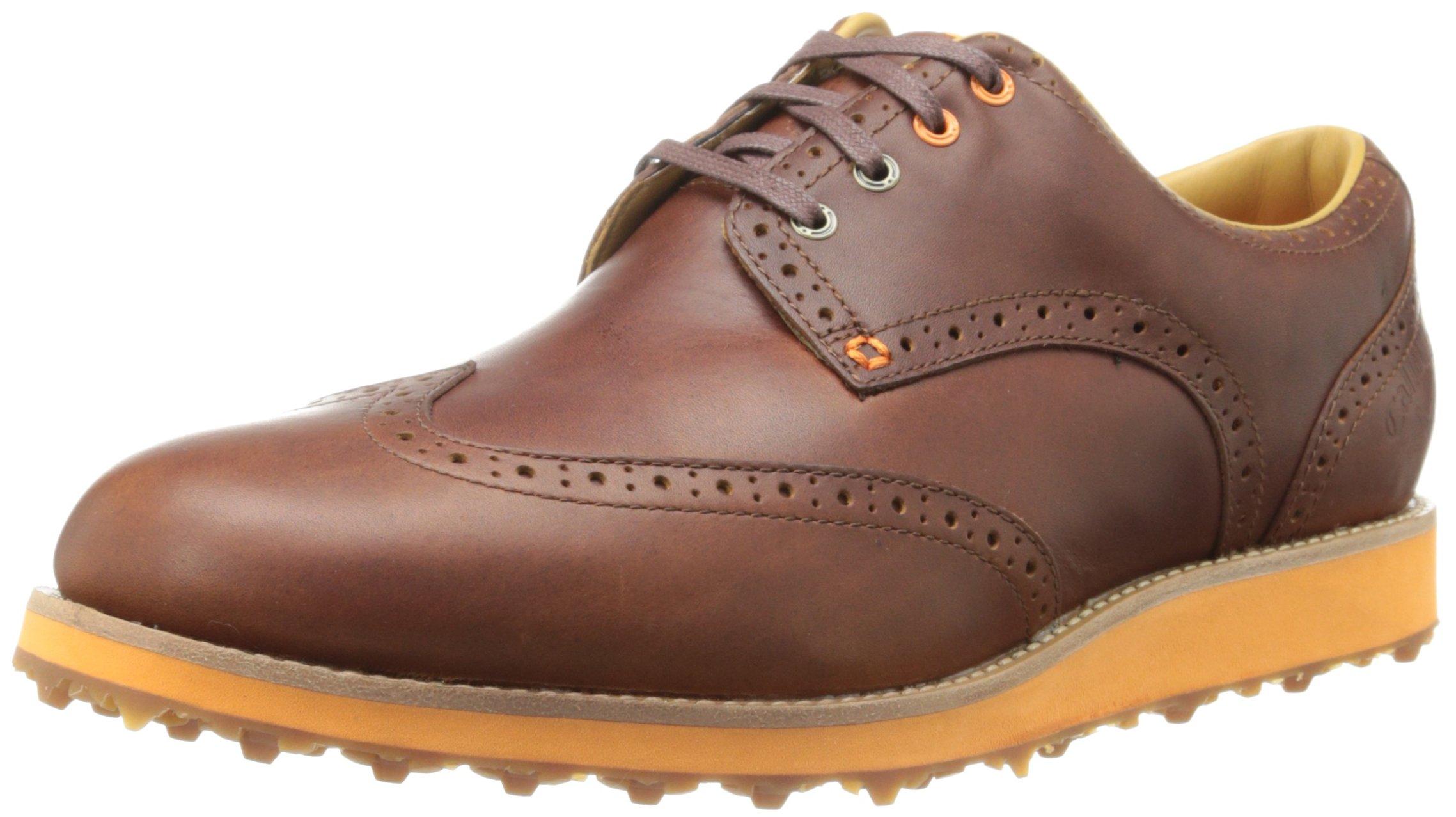 Callaway Footwear Men's Master Staff Brogue Full Grain Leather Golf Shoe, Brown/Brown, 9.5 M US