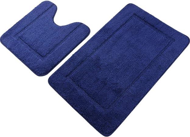 Amazon Com Pauwer Navy Blue Bath Rug Set 2 Piece 21 X 34 20 X 20 Bathroom Contour Rug Combo Non Slip Microfiber Bath Shower Mat And U Shaped Toilet Rug Home Kitchen