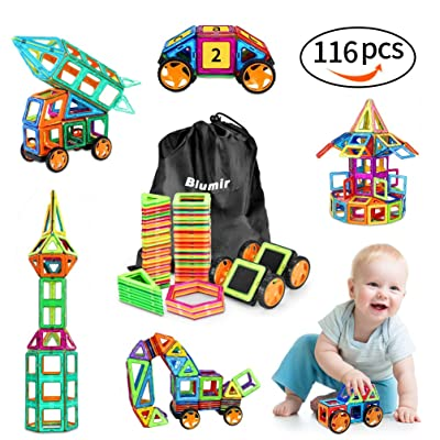 116 PCS Magnetic Blocks with Wheels,Magnetic Building Blocks Set