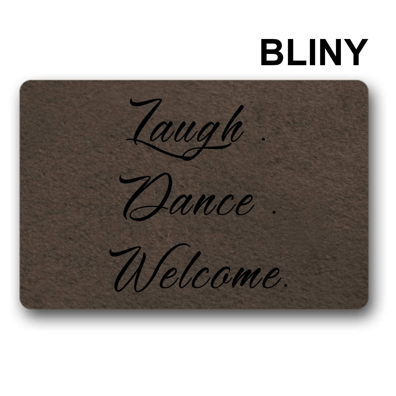 BLINY Funny Doormat Entrance Mat - Laugh Dance Welcome - Indoor Outdoor Decoration Door Mat 23.6 x15.7 inch
