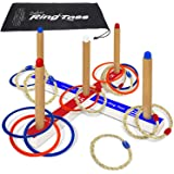 Ring Toss Deluxe – Includes 16 Rings, 8 Rope & 8 Plastic. Carry Bag Included – Easy to Assemble – Fun Family and Friends Toss