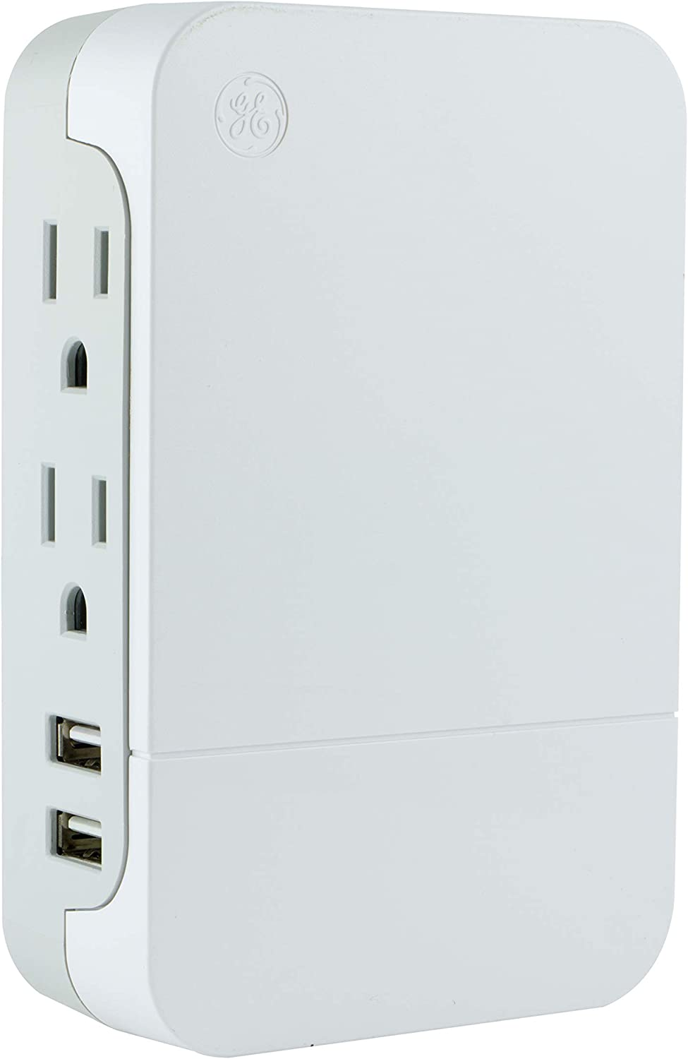 GE Pro 2-Outlet + 2 USB Side-Access Surge Protector, White, 2.4A/12W, 560 Joules, White, 31711