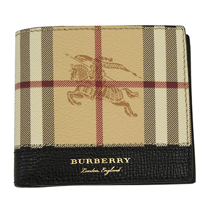 b028327cc5e2 Burberry Men s Checked PVC   Black Leather Bi-fold wallet 4065241   Amazon.ca  Clothing   Accessories