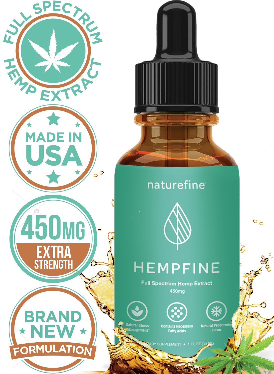 Hemp Oil for Pain Relief :: HempFine :: Full Spectrum Hemp Extract 450 MG :: All Natural Stress Relief, Anti Anxiety, Sleep Supplement, Relieve Chronic Pain :: New & Improved Formula
