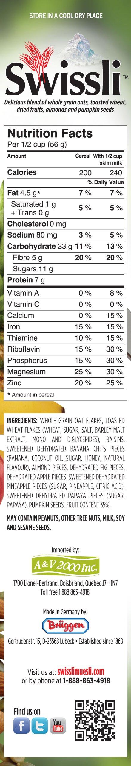 Swissli Muesli 35% Fruit & Nuts - 1kg/35 Ounce Boxes - 2 Pack - NON GMO
