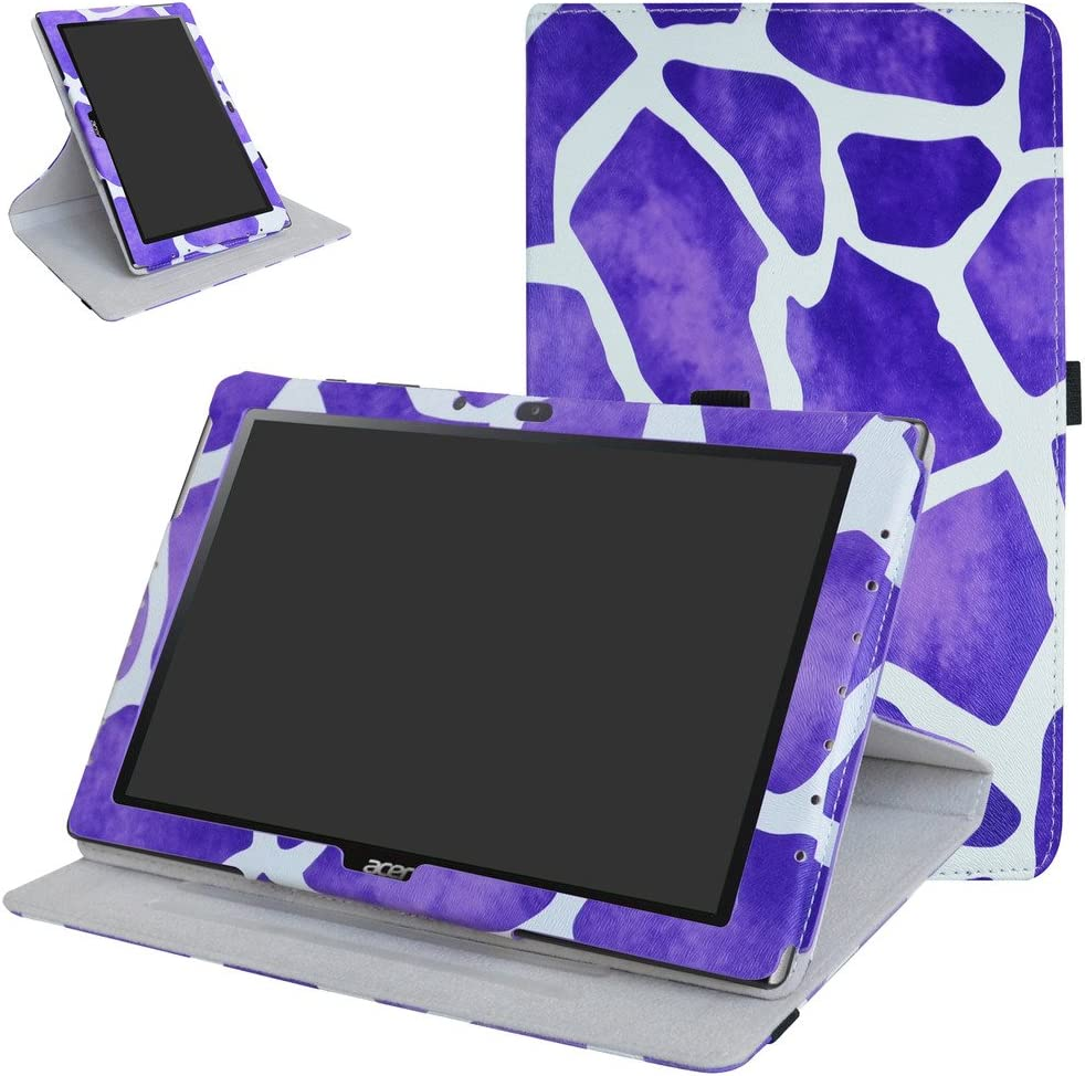 "Acer Iconia One 10 B3-A40 Rotating Case,Mama Mouth 360 Degree Rotary Stand with Cute Pattern Cover for 10.1"" Acer Iconia One 10 B3-A40 Android Tablet,Giraffe Purple"