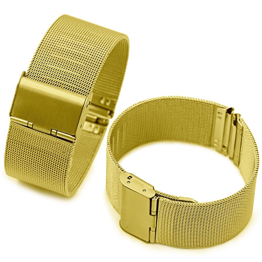 chezabbeyソリッドMilanese Meshステンレススチール時計バンド交換用時計ストラップ調節可能なバックル12 / 14 / 16 / 18 / 20 / 22 / 24 mm 18 MM ゴールド 18 MM|ゴールド ゴールド 18 MM B0749B5R5V