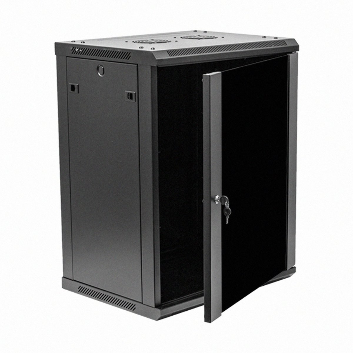 Navepoint 15U Deluxe IT Wallmount Cabinet Enclosure 19-Inch Server Network Rack With Locking Glass Door 16-Inches Deep Black