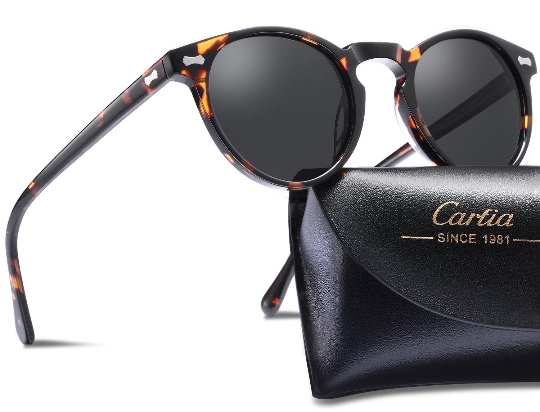 Carfia Polarized Sunglasses for Men丨Vintage Round Sunglasses with Case丨100% UV400 Protection