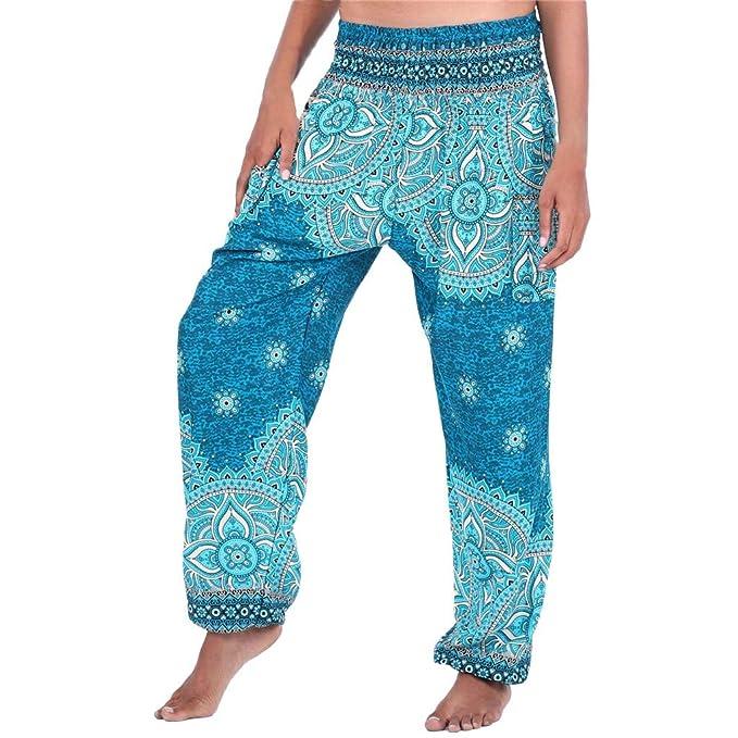 Ansenesna Pumphose Damen Mit Gummibund Boho Lang Elegant Fitness Hose Frauen Schick Locker Vintage Yoga Haremshose