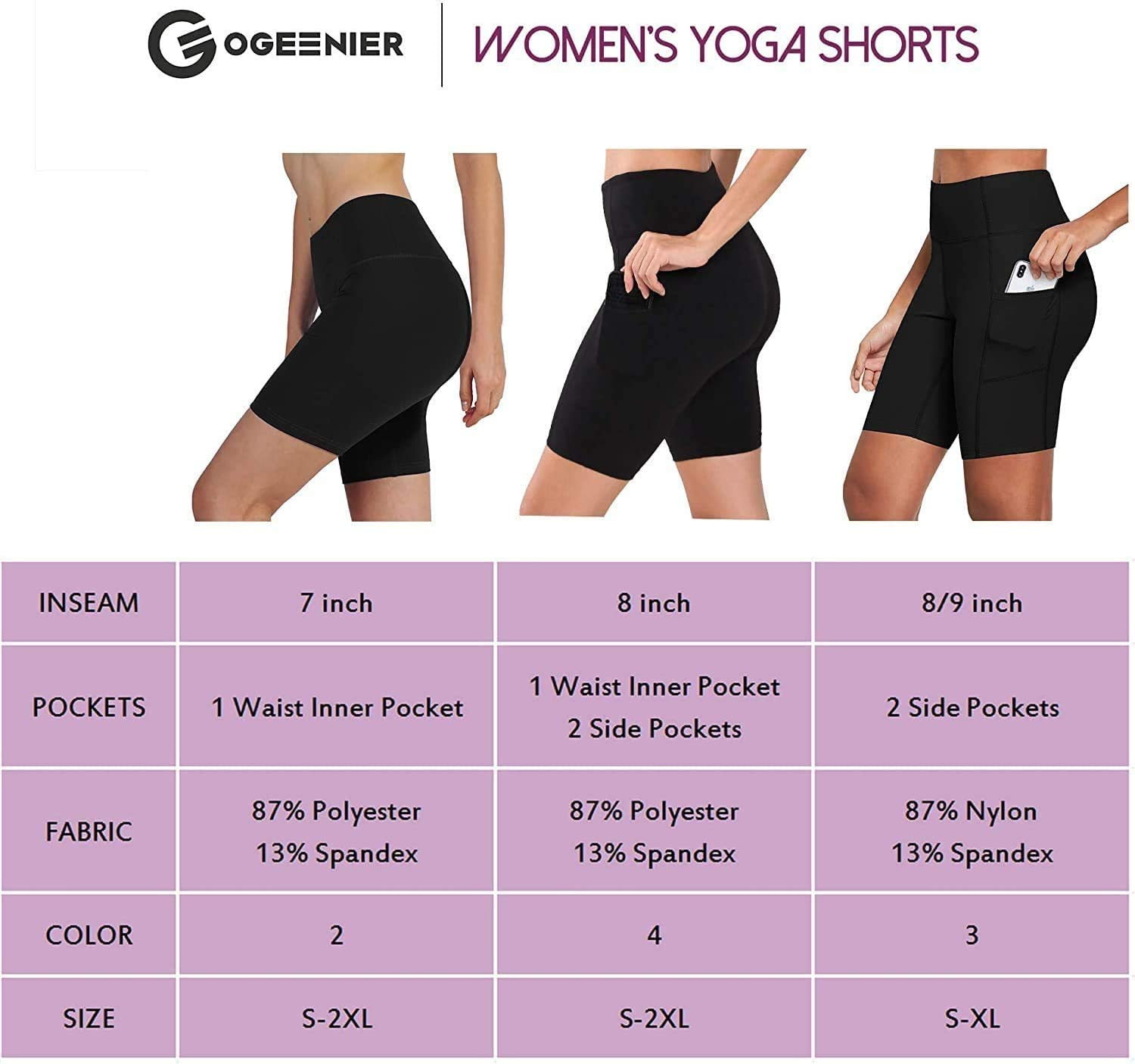 Ogeenier Womens 8 Yoga Running Shorts with Pockets Tummy Control Workout Cycling Gym Shorts