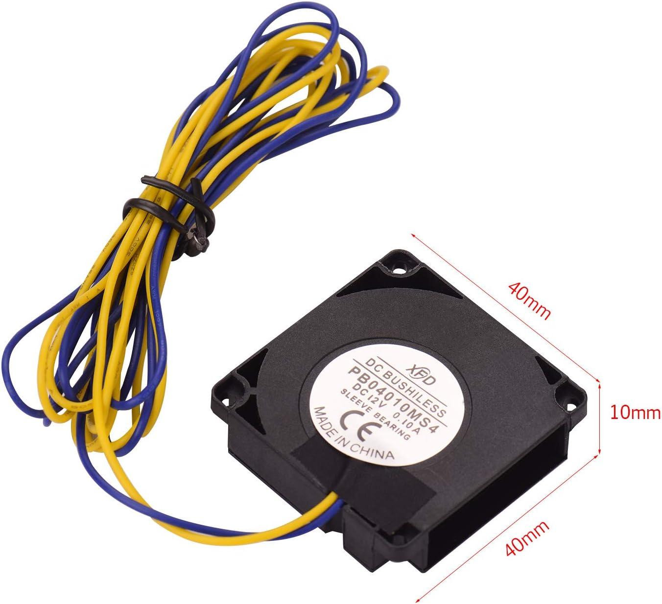 10 mm 12 V cc extrudeuse extr/émit/é chaude ventilateur de refroidissement refroidisseur compatible avec limprimante 3D Creality CR-10 CR-10S S4 S5 40 Fesjoy 4010 ventilateur ventilateur 40