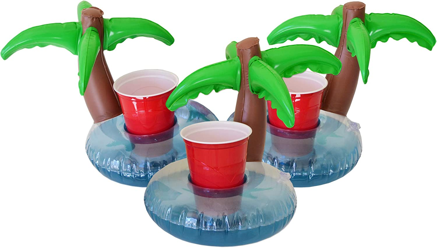 GoFloats Inflatable Pool Drink Holders (3 Pack) Designed in the US - Huge Selection from Unicorn, Flamingo, Palm and More - Float Your Hot Tub Drinks In Style