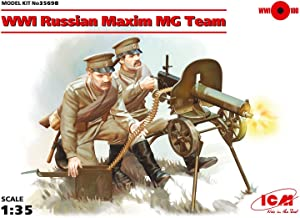 ICM 1/35 Scale WWI Russian Maxim MG Team (2 Figures) - WWI Russian Army Figures Model Building Kit # 35698