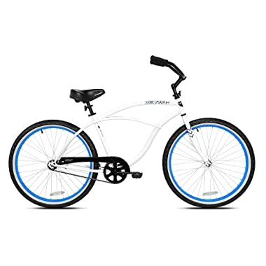 Kent International 26 Inch Back Wheel Mens Kiawah Cruiser Street Bicycle, White