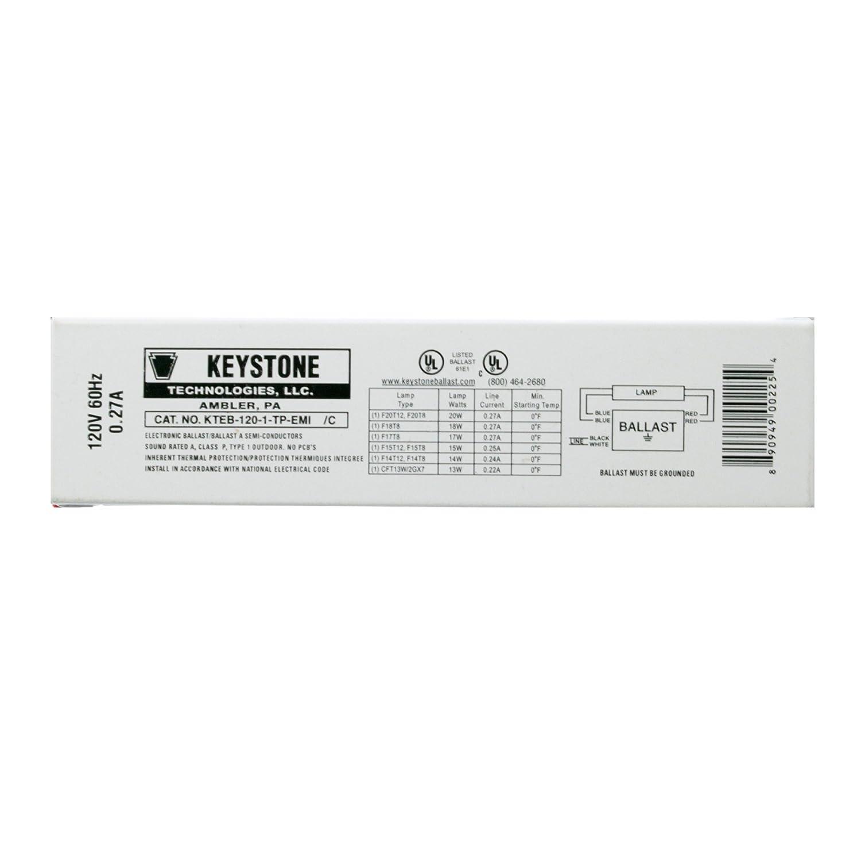 Keystone KTEB-120-1-TP-EMI Fluorescent Ballast, 1-Lamp, F20T12, 20W T12, 120V Keystone Technologies