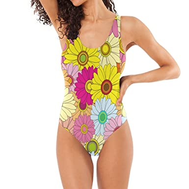 d41903f119e3d Image Unavailable. Image not available for. Color: LORVIES Women's Bright  Multicolored Floral One-Piece Swimsuit Scoop Back Monokini ...