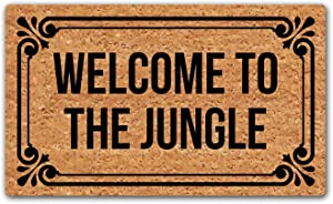 LuckyChu Welcome to The Jungle Doormat Funny Floor Mat Rug Non-Slip Entrance Indoor Outdoor Bathroom Kitchen Home Mats Rubber 30 by 18 inch