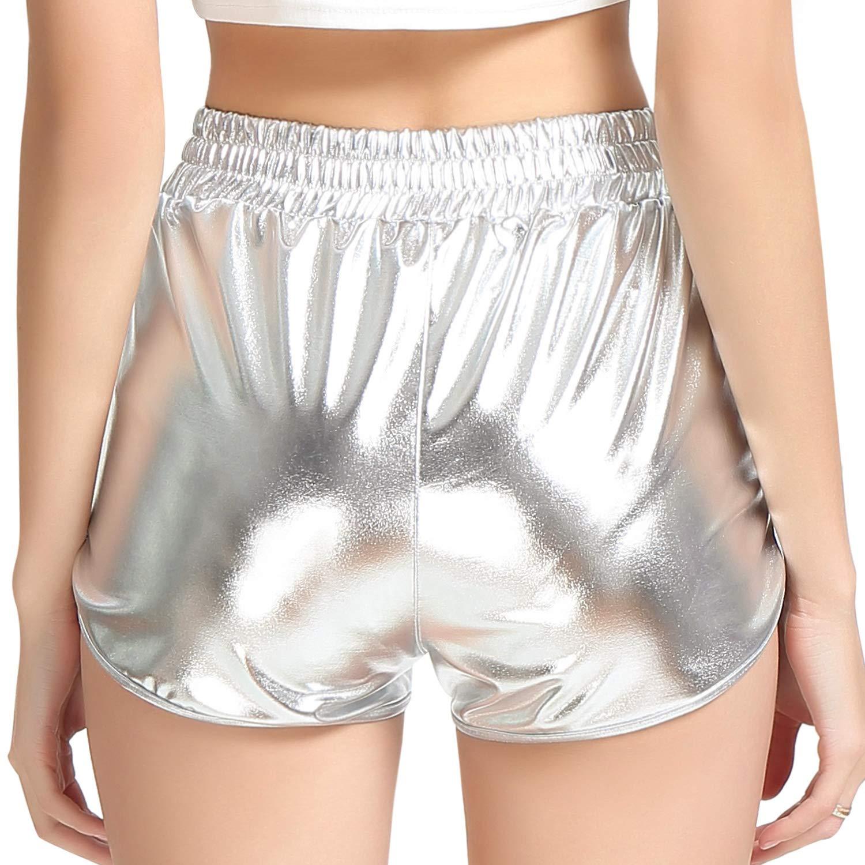 Perfashion Womens Metallic Shiny Shorts Sparkly Hot Yoga Outfit
