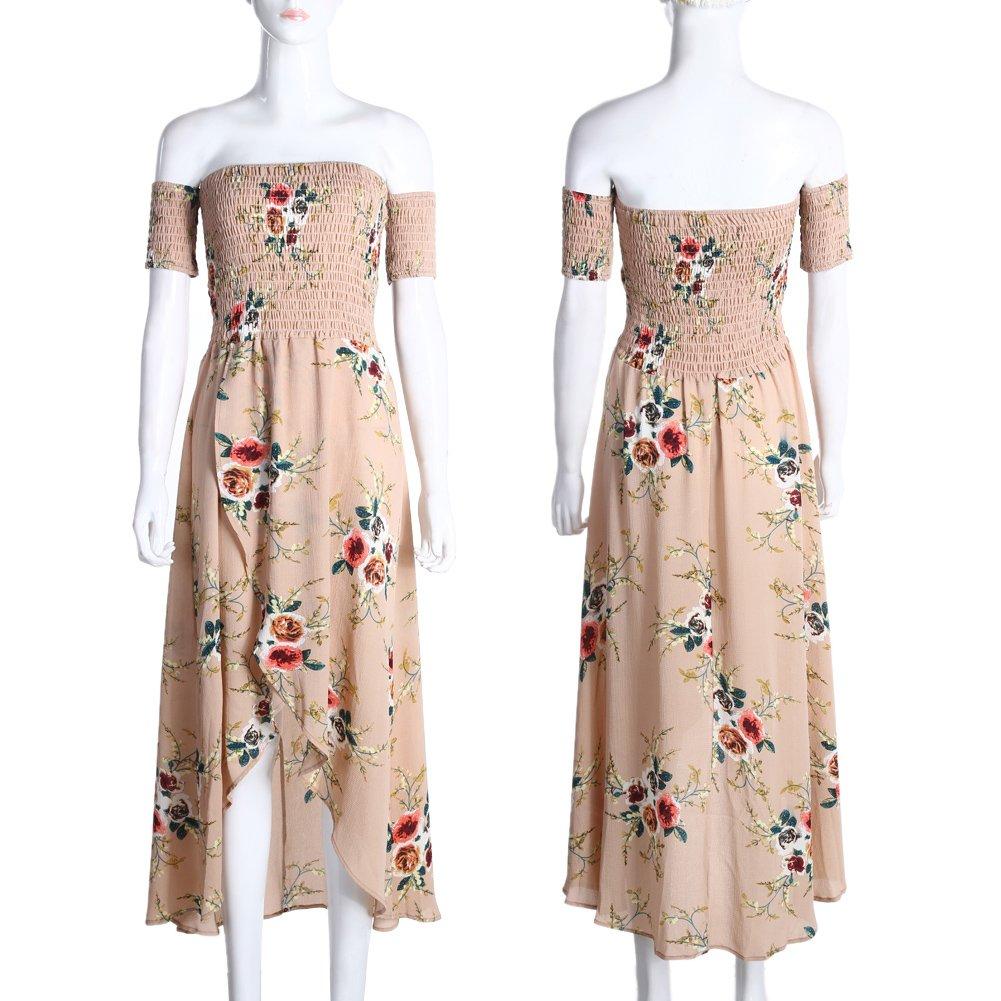 8371ff8373 Amazon.com: Diamondo Womens Summer Boho Off Shoulder Floral Print Beach Maxi  Long Dress: Sports & Outdoors