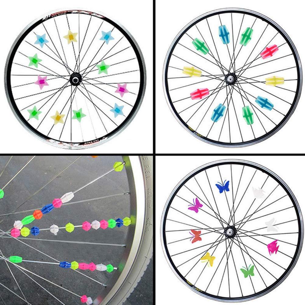 DierCosy Bici habl/ó Clip Forma del cord/ón 36Pcs Estrella Bicicletas Decoraci/ón Rayo de la Rueda de Alambre Cuentas Decorativas adjuntos